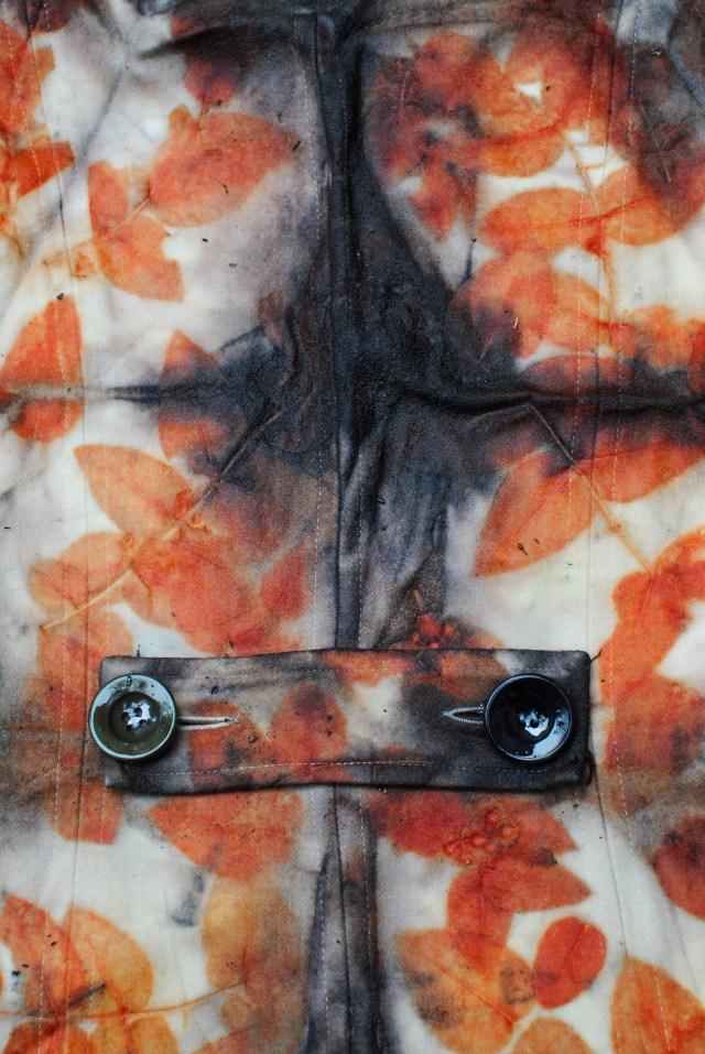 Eucalyptus leaf eco-print and shibori on wool