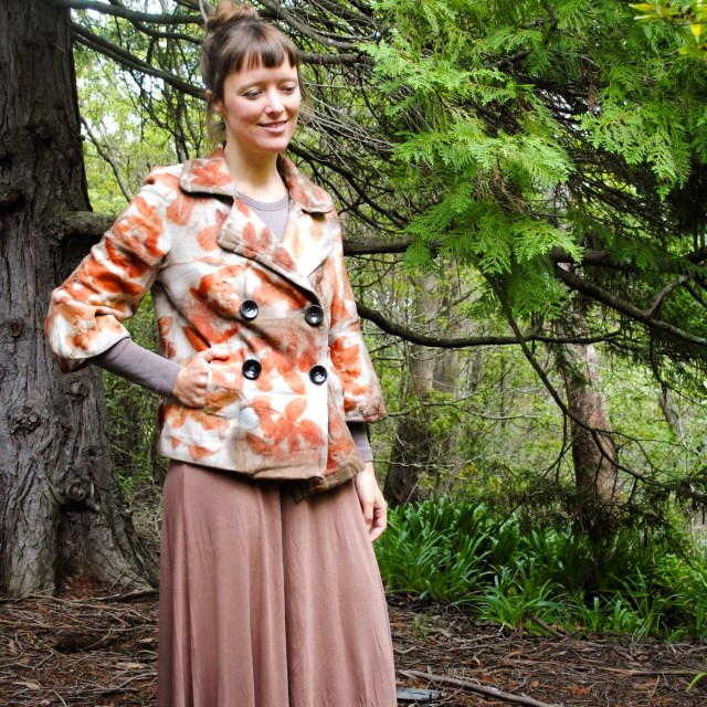 Eco-printed, naturally dyed wool coat by Gumnut Magic