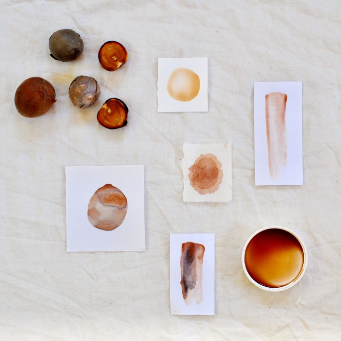 Avocado seed paint/ ink paper tests by Gumnut Magic