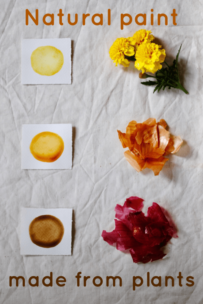 Use onion skins or marigold flowers to make paint or ink
