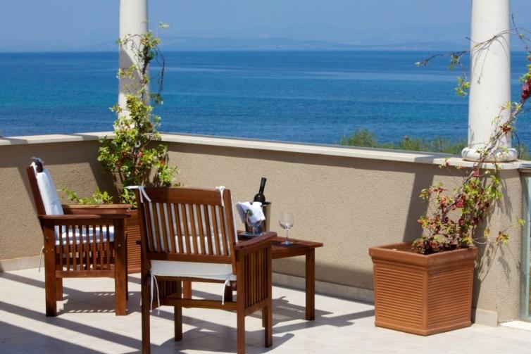 Sea view from first floor terrace in Villa Gumonca