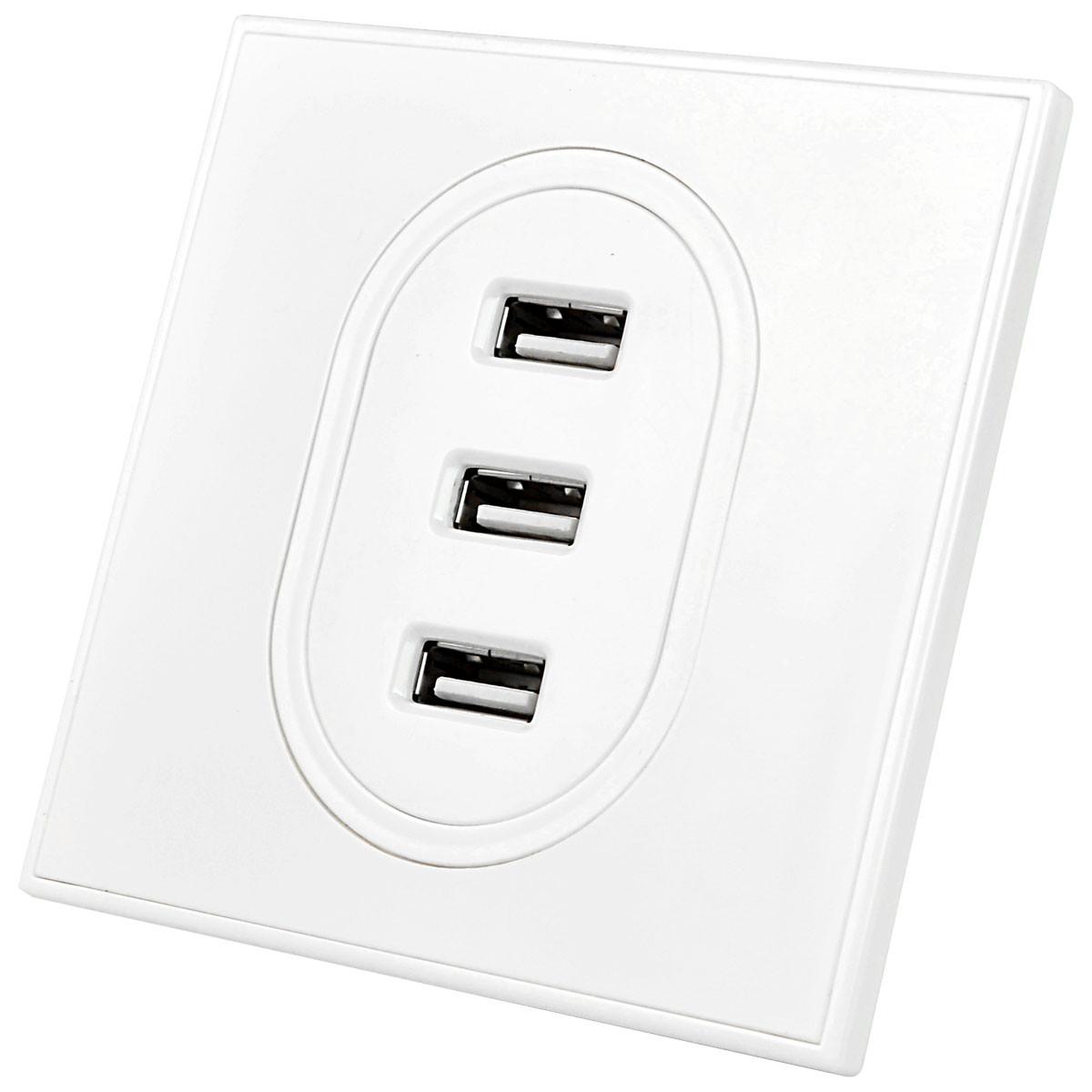 3 USB Charging Wall Socket (Input: AC 100-240V / 10A, USB