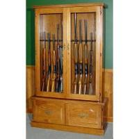 #910 Premium Solid Oak 12-Gun Cabinet