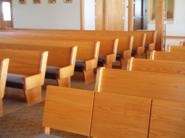wooden church choir chairs tall dining room gunder furniture holy spirit churchmaryland heights mo solid wood pews