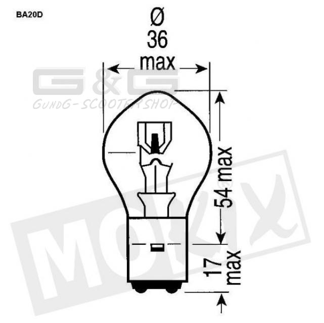Bilux 12V 35/35W BA20D Lampe Glühbirne Glühlampe APRILIA