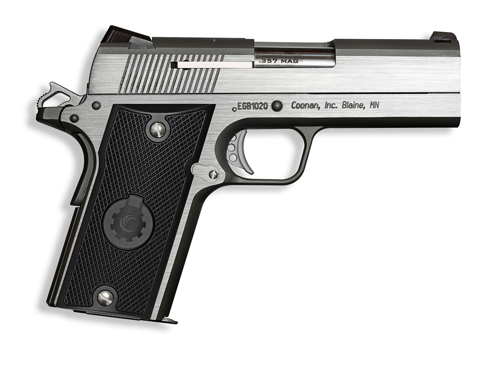 The Coonan Compact still throws magnum rounds down range, but in a smaller package.