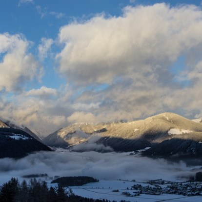 View from the Kronplatz towards the Antholz valley, late afternoon