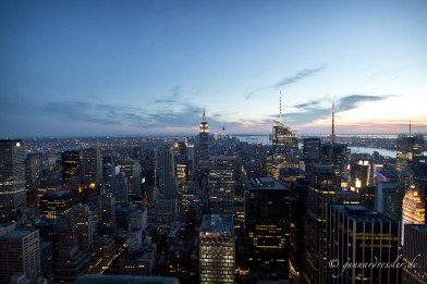 Nighttime view from Rockefeller Center to Downtown Manhattan