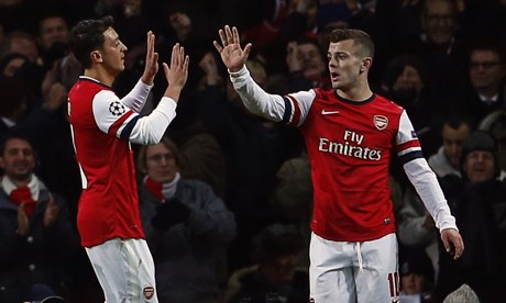 Arsenal's Jack Wilshere, right, with Mesut Özil