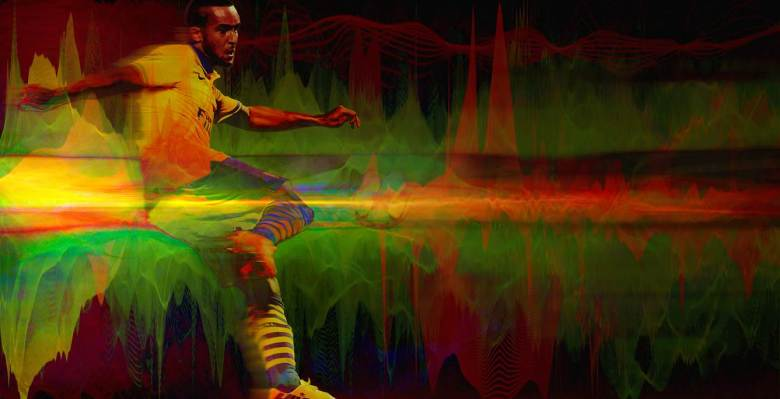 """""""Theo's sure foot hitting the ball during his amazing volley is enough to send the most beautiful sound waves reverberating around the Stade Vélodrome, against Marseille in the 2013 Champions League"""""""