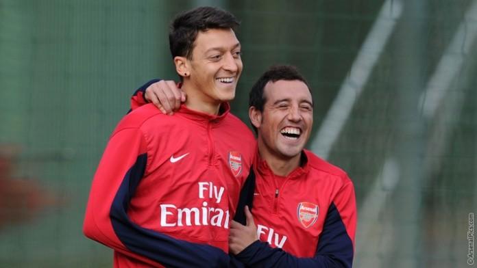 Mesut Ozil Santi Cazorla training
