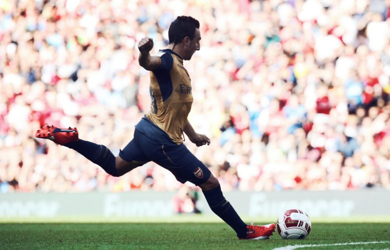 Cazorla fizzes his shot under the wall