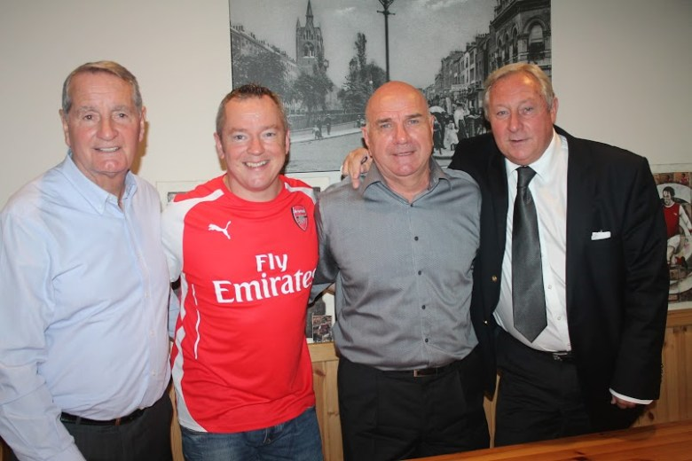 Dave Seager with Frank McLintock, Arsenal's doublewinning skipper, Eddie Kelly and John Radford, all Geordie's mates on and off the field