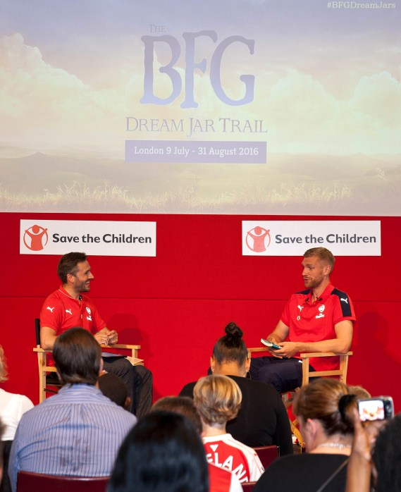 "On Tuesday 12 th July Arsenal held a Junior Gunners event at the Emirates Stadium.. as partners with Save the Children, the Arsenal and the BFG Dream Jar Trail launch event. The event was hosted by Nigel Mitchell – Arsenal's official pitch side presenter fronting The Match Day Show, as well as professional footballer, Per Mertesacker. Per Mertesacker read his favorite section of Roald Dahl's ""the BFG"" and presented the prize to 10 year old Fahad. The BFG Dream Jar Trail brings to life the long-held dreams of celebrities and artists with Dream Jars across London and beyond this summer. Each jar contains ""splendiferous"" sculptures based on dream stories from the likes of Steven Spielberg, Stephen Hawking, the Delevingne sisters and many more. The Dream Jars will be located in iconic spots such as Tower Bridge, Trafalgar Square and Buckingham Palace. 32 Dream Jars will be available to view from from 9 July and a further 18 Dream Jars will be available by 22 July, in time for the release of The BFG in UK cinemas. The jars will be sold to raise money for Save The Children and Roald Dahl's Marvellous Children's Charity. One of these dream Jars is located at The Emirates stadium and this event on 12 th July marks its launch. © photograph by David Sandison www.dsandison.com +44 7710 576 445 +44 208 979 6745"