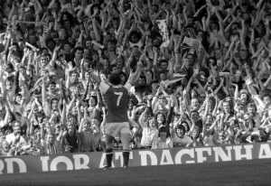 Liam celebrates a goal with his adoring North Bank fans