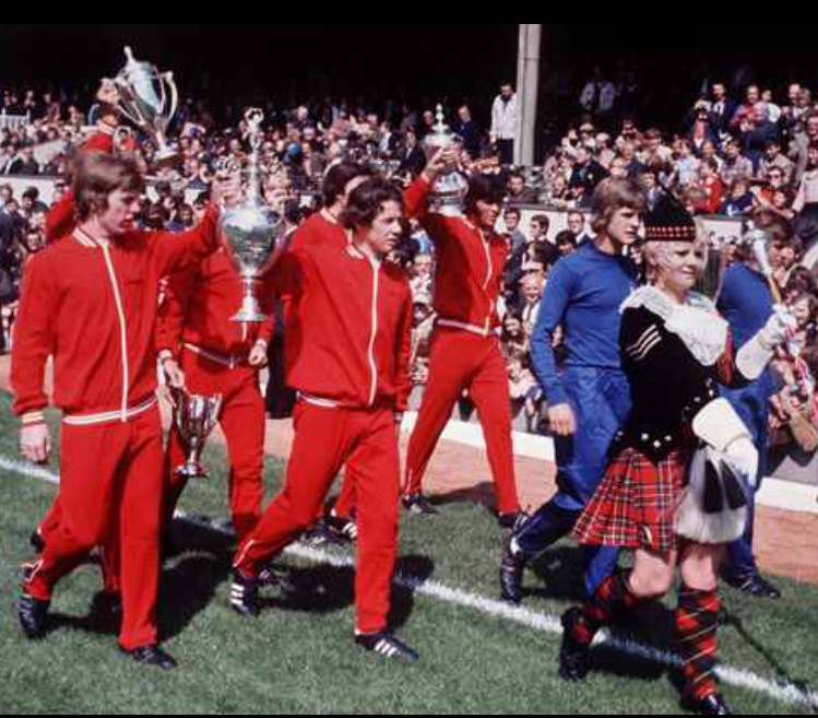 Liam and his fellow apprentices parading the Double trophies at Highbury before the start of the 1971-72 season