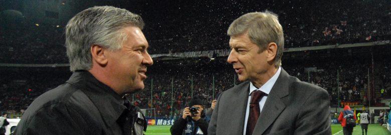Carlo Ancelotti et Arsene Wenger - Milan AC / Arsenal - 04.03.2008 - Champions League C1 - Huitiemes 1/8 - Foot Football - largeur attitude coach entraineur entraineurs fairplay fair play poignee de main accolade