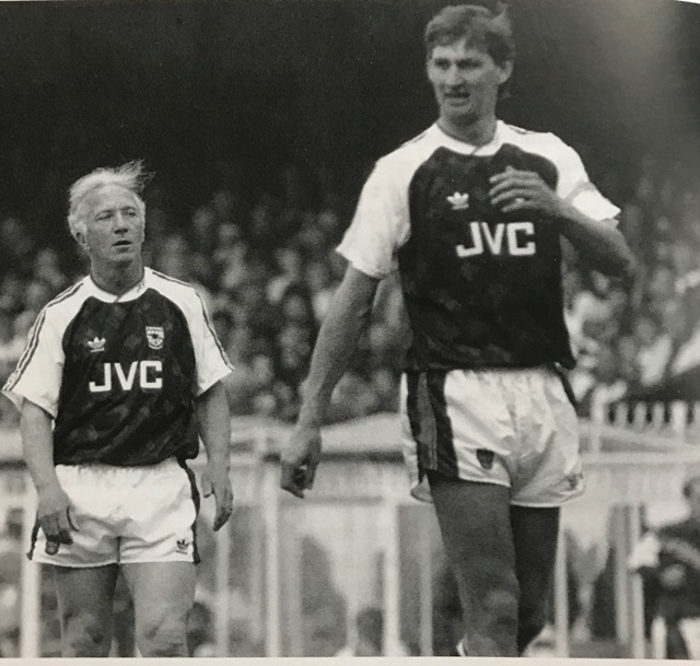 Geordie with Tony Adams playing in the Ray Kennedy Benefit Match