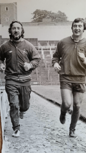 Geordie still going strong lapping the Highbury pitch with Alan Hudson