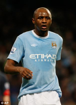 Patrick playing for Manchester City
