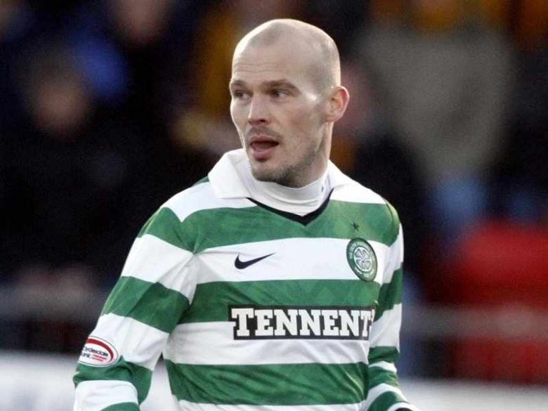 Freddie in the green and white hoops of Celtic