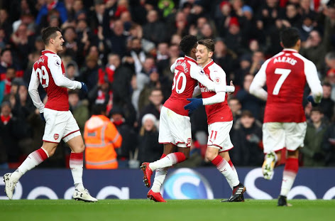 Relieved Gunners celebrate