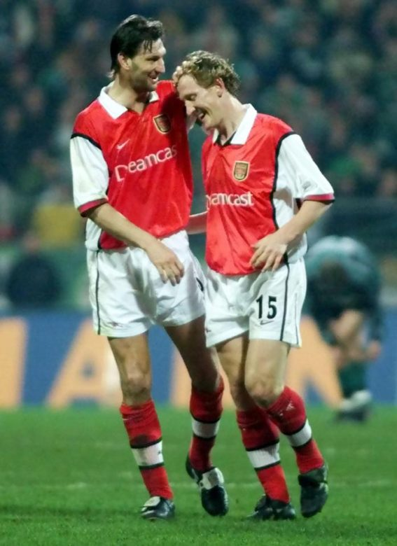 Ray celebrates a goal with his mentor and drinking partner Tony Adams