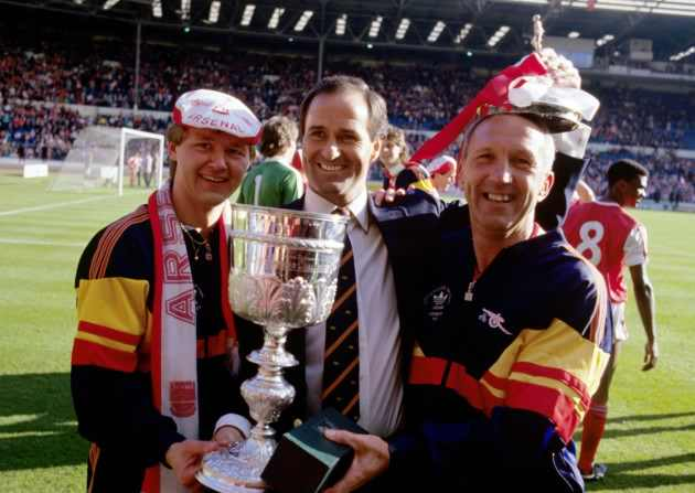 George celebrates Arsenal's 1987 Littlewoods Cup victory with Gary Lewin and Theo Foley