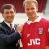 Dutch international Dennis Bergkamp at Highbury, where  he became Bruce Rioch's (left) first signing as Arsenal manager, when he joined the team for £7.5 million.