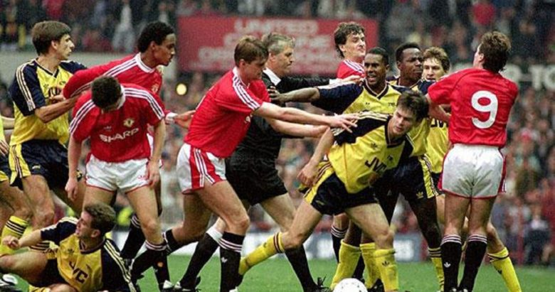 The brawl at Old Trafford in October 1990 which led to points deductions for both clubs