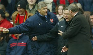 Wenger and Ferguson hassle the fourth official as the rivalry between the two managers hots up!