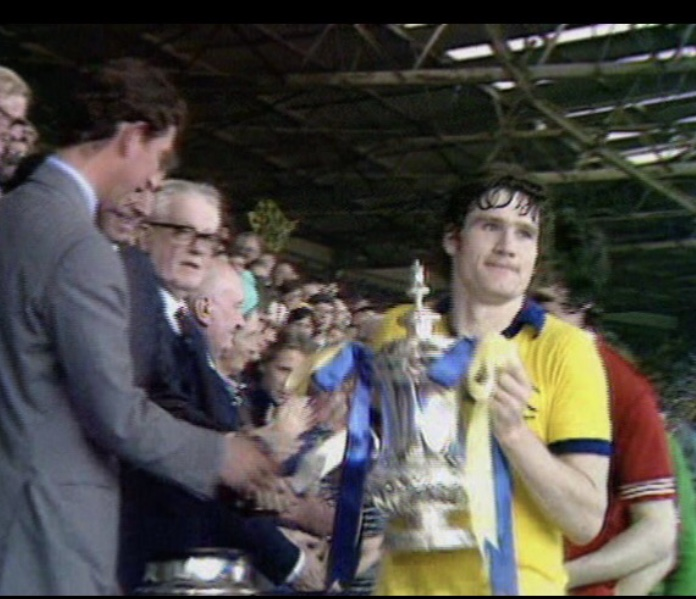 """Pat receiving the FA Cup from Prince Charles in 1979 after beating Manchester United in the """"five minute final"""""""