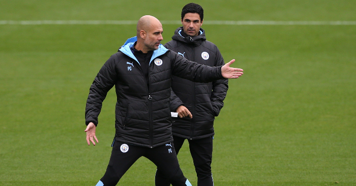 Mikel-Arteta-Pep-Guardiola-Man-City