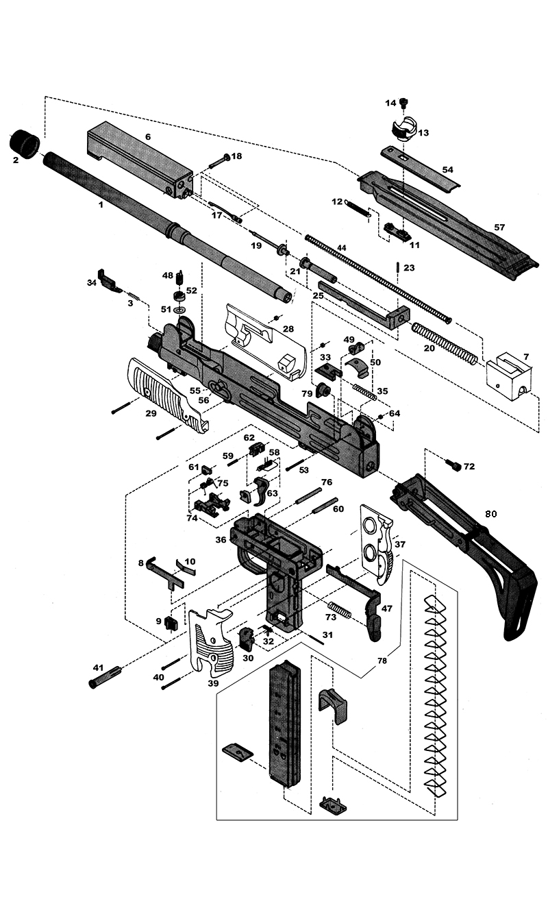 hight resolution of imi uzi series smg gun schematic