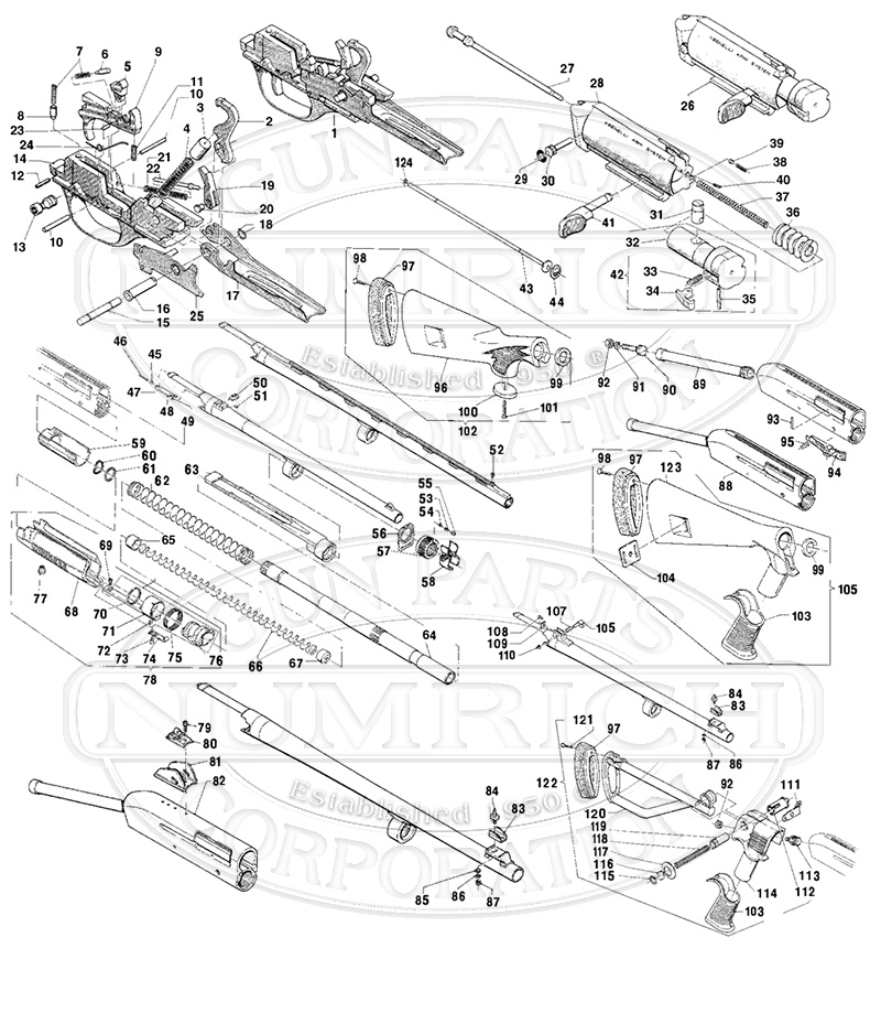 Benelli M3 Super 90 Folding Stock Shotgun Parts & Schematic