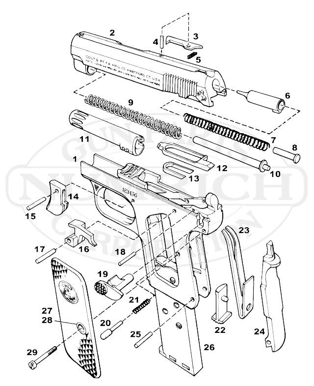 Colt 1908 Pocket .25 Auto Hammerless Parts & Schematic
