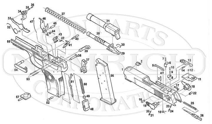 ruger pistol parts diagram strat wiring humbucker p345 numrich gun auto pistols schematic