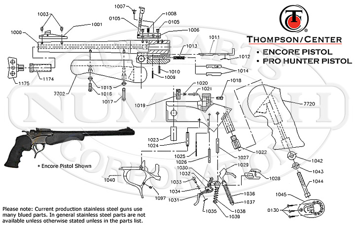 glock 22 exploded diagram 1987 club car ds 36 volt wiring encore pistol schematic numrich thompson center centerfire pistols gun