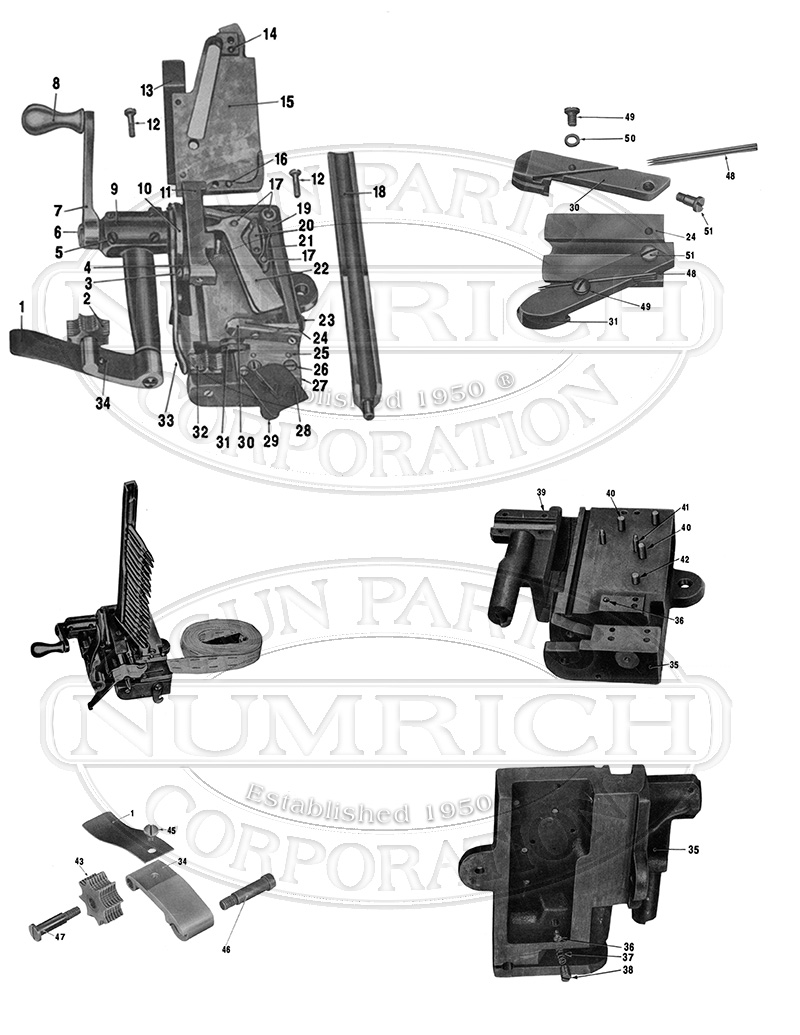 1918 .30 Cal. Machine Gun Belt Loader Parts & Part List
