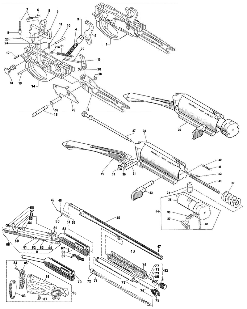 Benelli M1 Super 90 Parts Diagram, Benelli, Free Engine