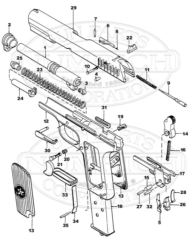 Smith Wesson 1911 Pistol Schematic