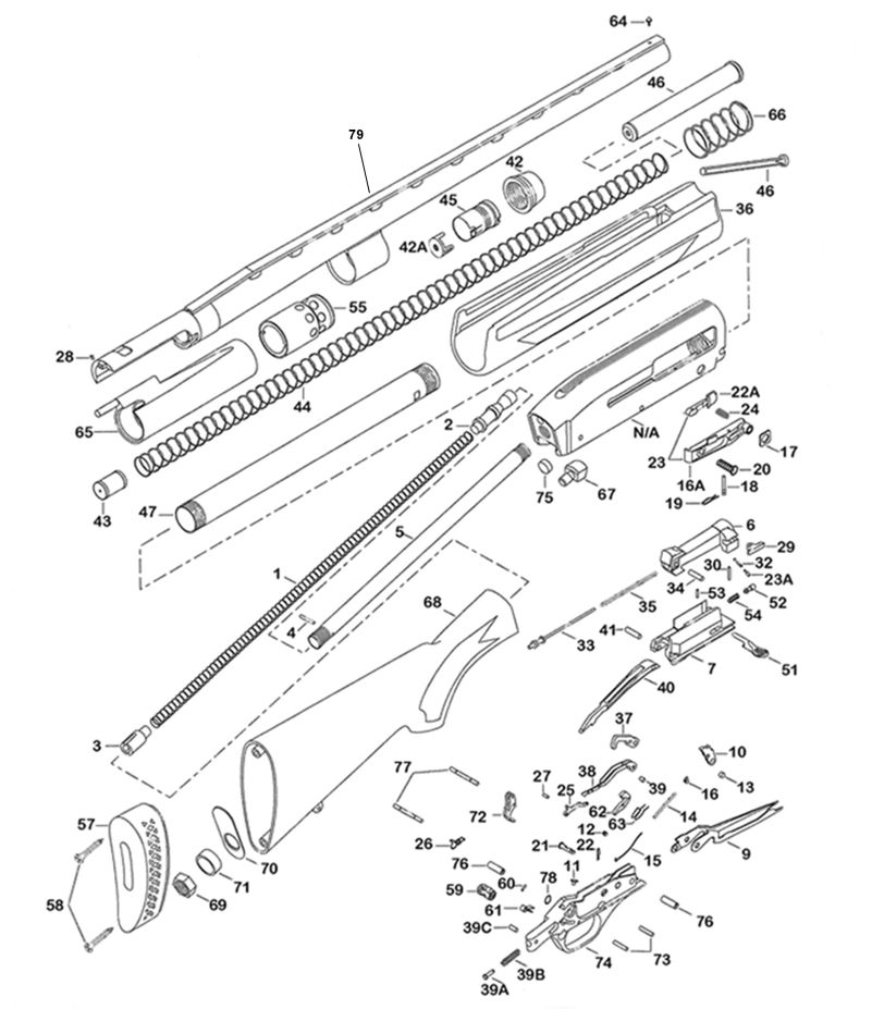 Winchester Model 1300 Parts Diagram, Winchester, Free
