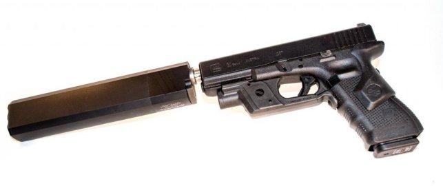 A caliber smorgasboard: A 45 Osprey on a Glock 31 (.357 Sig) using a Lone Wolf .40 S&W threaded barrel.