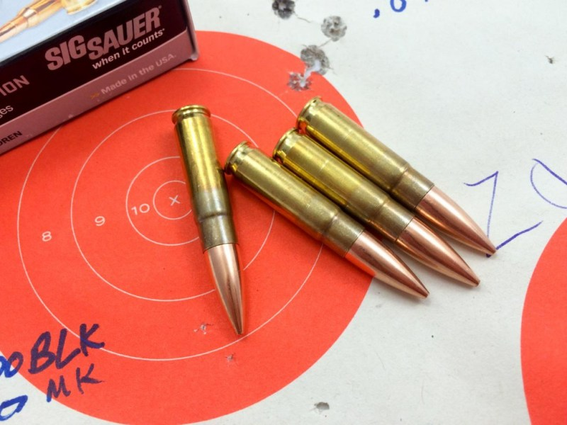 The huge 300 AAC Blackout subsonic projectiles are stuffed into cut down .5.56mm cartridge cases.