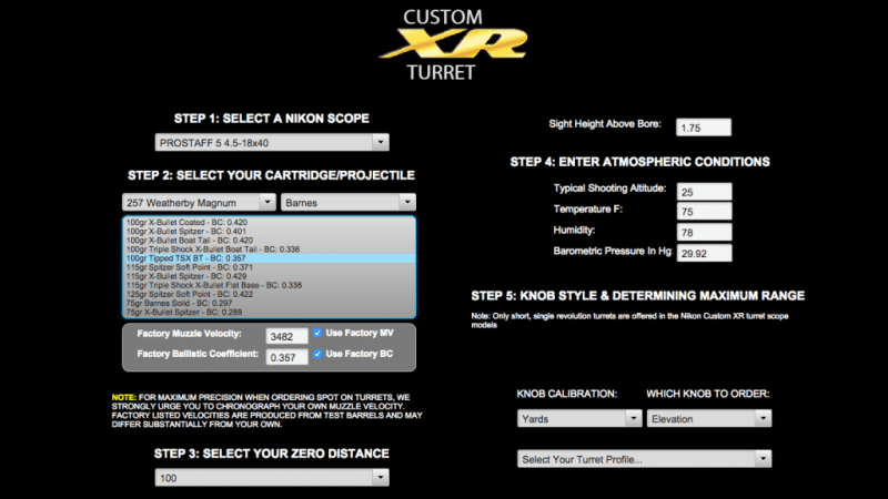 I entered details about my rifle, scope mount, and specific ammunition performance on Nikon's web site to configure my custom turret cap.