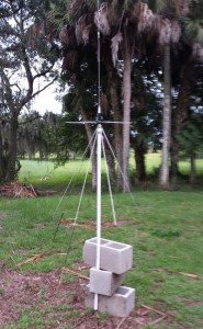 """This is the Discone antenna that I bought for about $50 on Ebay. Even at this height it showed a notable difference in all of the VHF and UHF frequencies above both the included whip and my """"multi-band"""" wire antennas. Up high, using a mast system, it's going to rock."""