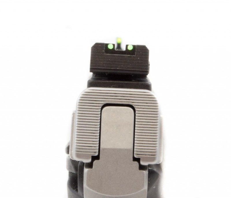 The receiver and rear sight are serrated to reduce glare.