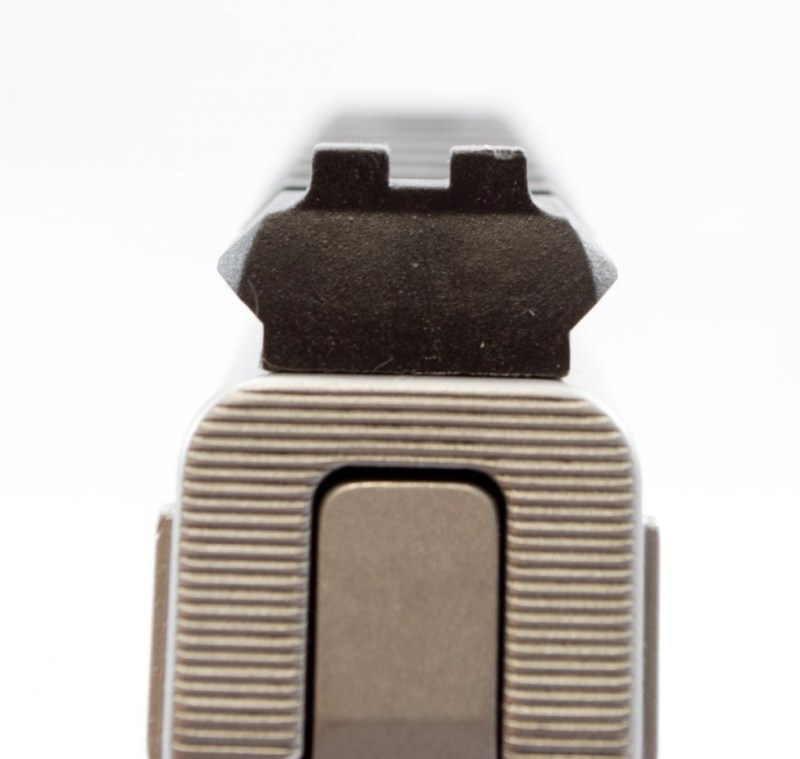 The Picatinny rail has a rear sight notch without the fiber optic tubes.
