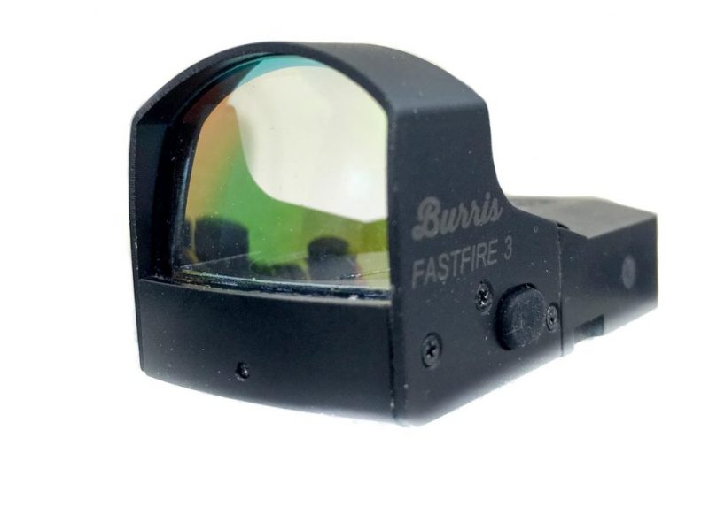 With a reflex sight like this Burris FastFire 3, an LED lamp is reflected onto the lens.