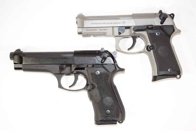 The Beretta 92 Compact INOX (top) shown next to a 92 FS full size.
